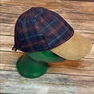 Scala Wool Plaid Adjustable Baseball Cap, OSFM